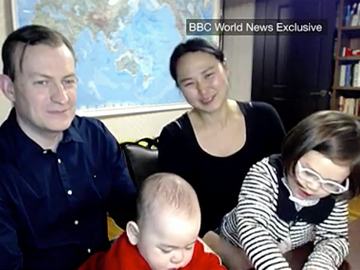 BBC reporter and family talks about adorable disaster interview