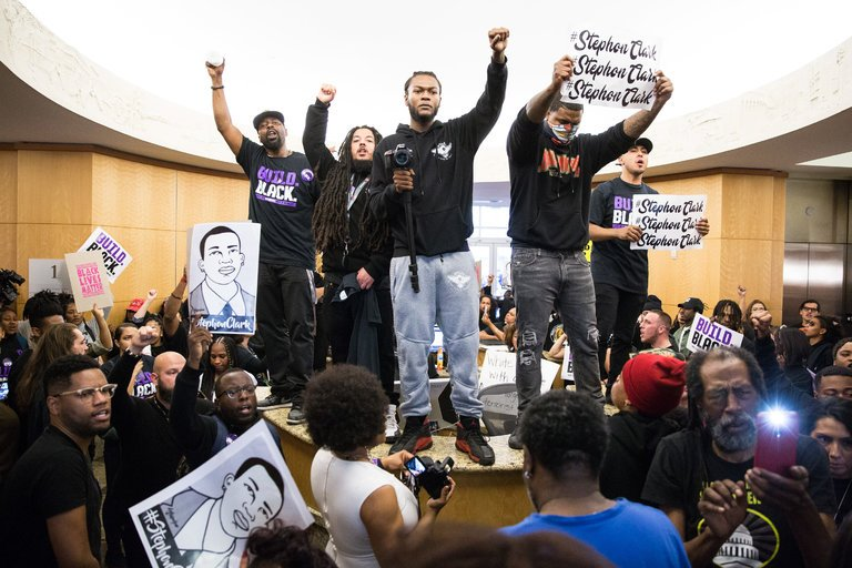 Support for Police Shooting Victim Stephon Clark in the Hundreds at Sacramento City Hall