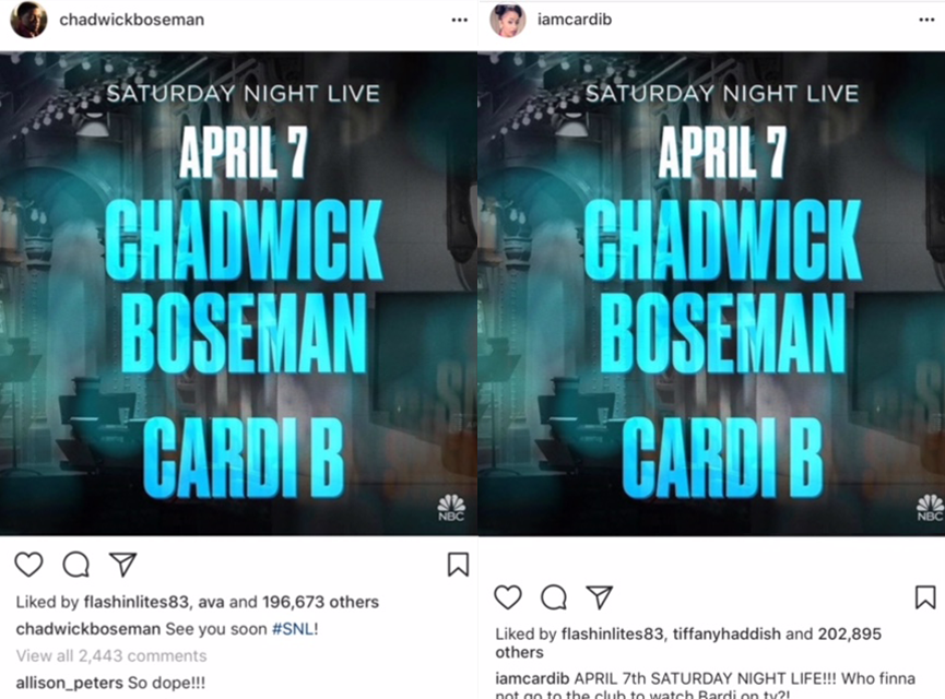 Chadwick Boseman to Host 'Saturday Night Live' with Cardi B as the Musical Guest IG