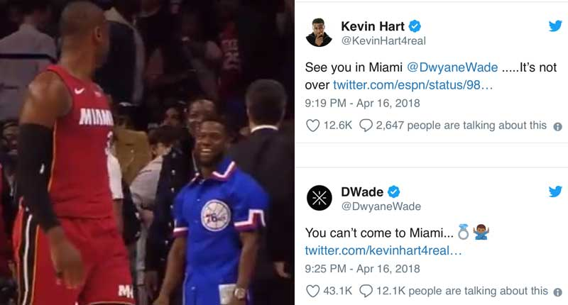 Dwayne Wade Thanks Kevin Hart for His Great Playoff Game