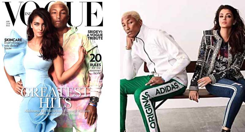 Hitmaker Pharell Covers India Vogue with Bollywood Star Aishwarya Rai Bachchan