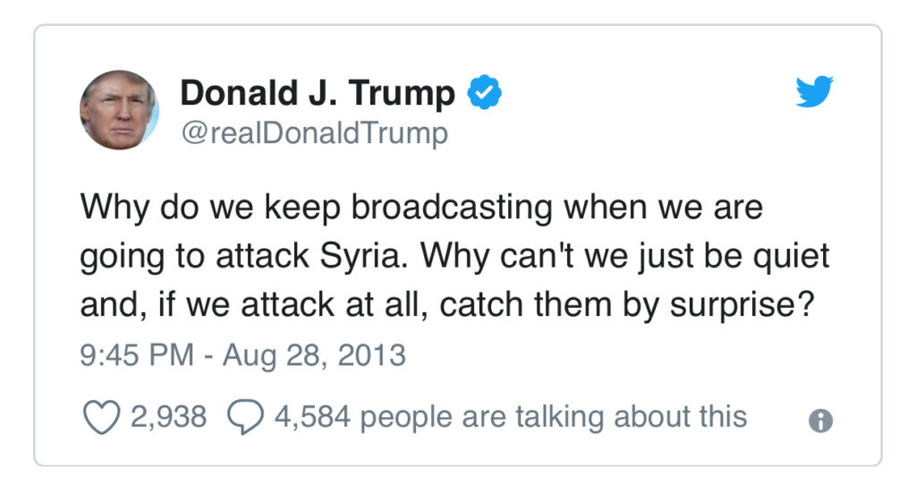 Trump Criticizes Obama in 2013 for Syrian Strategy Reveal but Does the Same