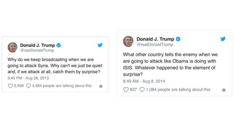 Trump Criticizes Obama in 2013 for Syrian Strategy Reveal but Does the Same in 2018