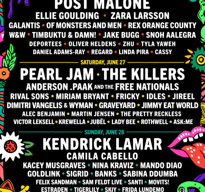PEARL JAM, KENDRICK LAMAR, POST MALONE AND THE KILLERS LEAD LOLLAPALOOZA STOCKHOLM 2020 LINEUP