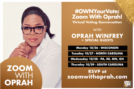 Oprah Winfrey To Host Virtual Town Halls in Key States To Encourage, Inspire and Support Voters Ahead of Election